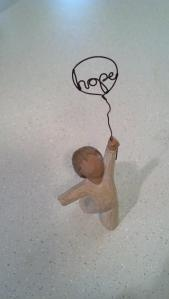 Hope again.  Photo of willow boy with hope balloon