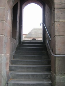 picture of doorway with steps and a hand rail along Chester City Wall