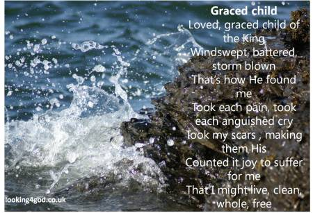 Graced child poem by Michelle Sherlock photo of waves breaking on rocks