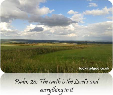 Psalm 24v1 The earth is the Lord's and everything in it (Photo of Fields, harvest, blue sky)