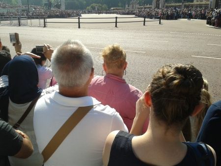 Photo of crowd outside Buckingham Palace in front of the gates at Green Park