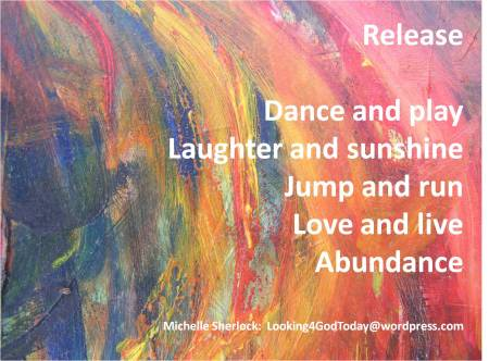 Release poem by Michelle Sherlock set against a background of blues, oranges, pinks in abstract ar