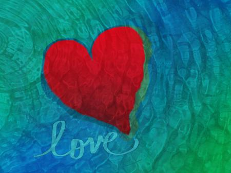 Photo of heart against blue-green rippled painted background