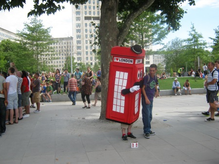 Telephone box mascot