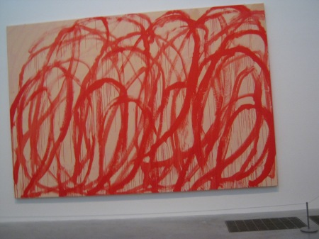 Photo of red swirls on canvas