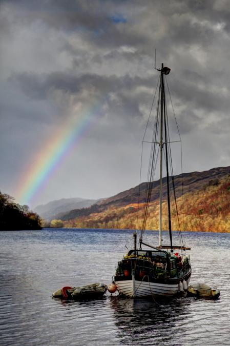 photo of rainbow and ship at loch oich