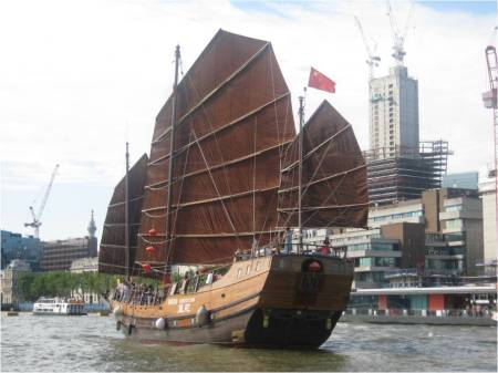 Relic: Ship named Huantian of Shenzhen, China sailing down the River Thames in August 2012