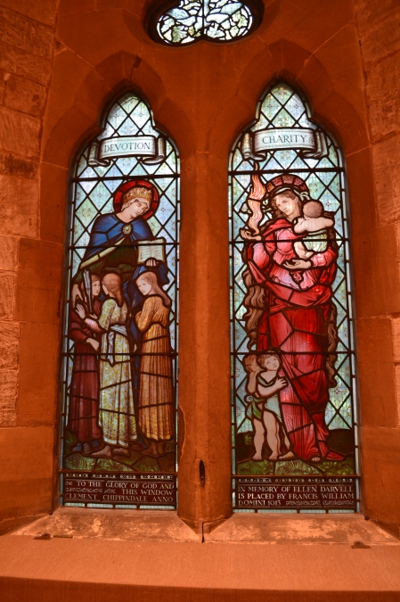 Photo of two characters Devotion and Charity at St Stephens Church, Tonbridge