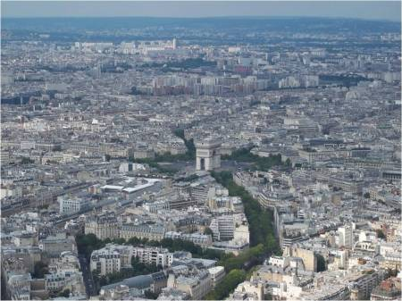 View of Paris with the Arc de Triomphe in the centre.  Photo taken from the Eiffel Tower taken July 2012 © Michelle Sherlock