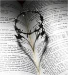 barbed wire crown of thorns, creating heart shape on bible on story of woman caught in adultery